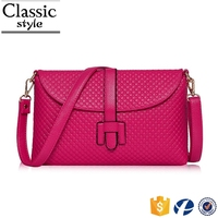 CR qaulity guarantee cheap wholesale ladies shoulder bag embossing long strap rose red leather handbags purses