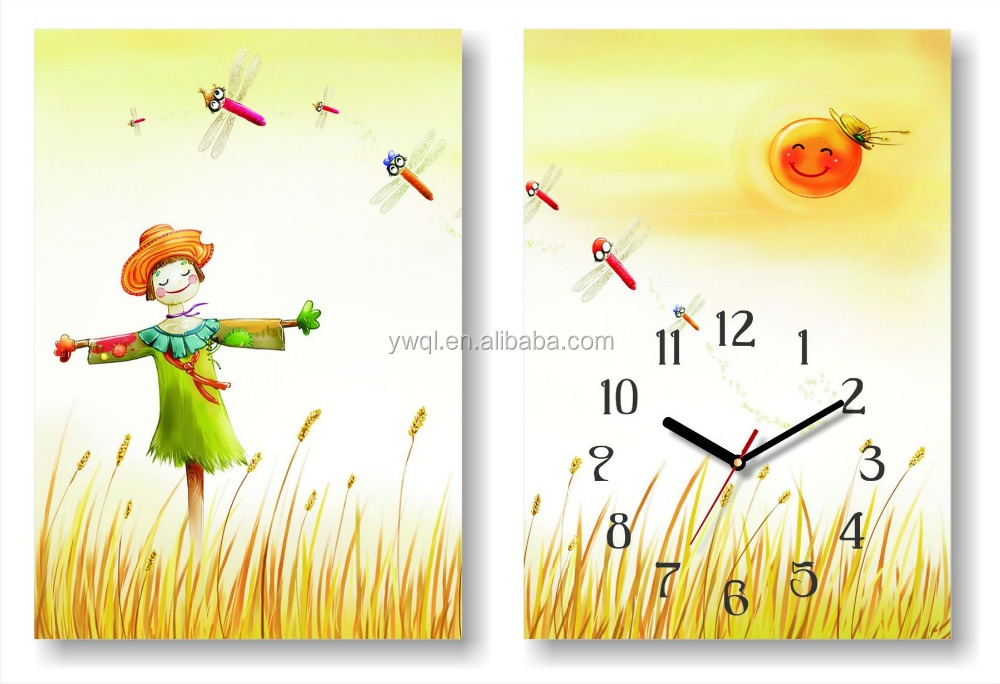 Hot sale promotional cheap MDF cute smart baby kids wall clock