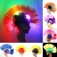 NEW Light Up Flashing LED Mohawk or Rainbow Hot Curly Afro Wig Clown Halloween Costume Wig QPWG-2092