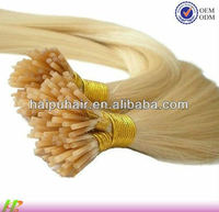Remy virgin hair extensions 0.8g per strands silky straight light blonde pre-bonded I- Tip human remy hair extension