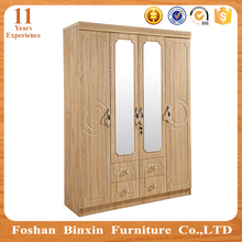Bedroom furniture cheap 4 door light beech color PVC wardrobe