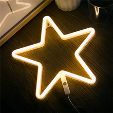 Wholesale Neon Signs LED Star Light 3-AA Battery Powered Festive & Party Supplies