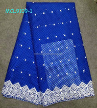 MCL9019-1 High quality african voile lace fabric for evening dress royal blue french lace fabrics with hole