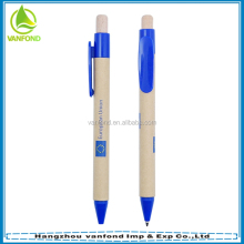 Custom brand logo promotional recycled paper pen with wooden pushing button