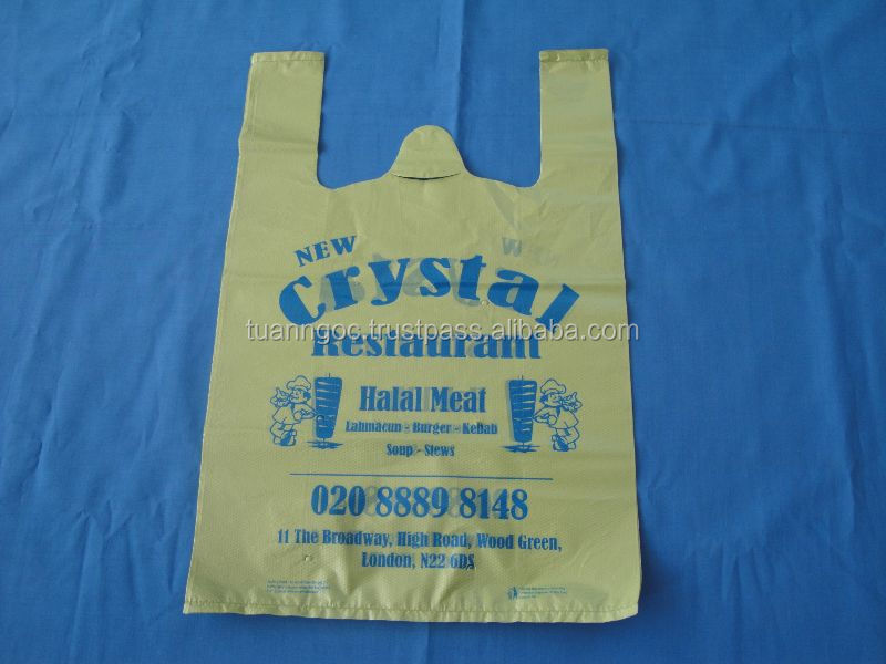 Plastic T-shirt bag export to United Kingdom from Vietnam/ HDPE T-shirt bag for restaurant