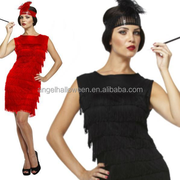 Ladies Black Red Flapper Costume Charleston 20s Gatsby Girl Fancy Dress AGC4152