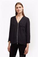 Europe women elegant v neck zipped front belle spot crepe top blouse