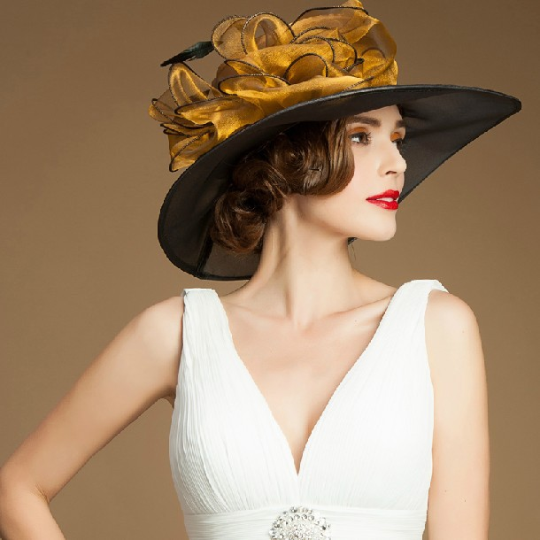 unique wide brim sinamay fancy ladies wholesale church wedding hats