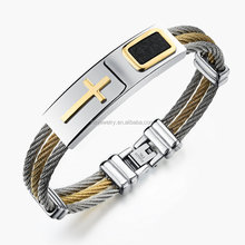 New gold bracelet designs men stainless steel wire cross jewelry nickel and lead compliant free christian bracelets