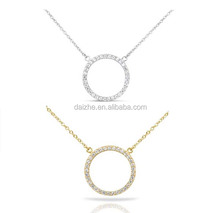 925 <strong>silver</strong> 2015 new design 925 sterling <strong>silver</strong> gold/rhodium cz circle connector necklace