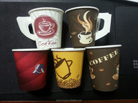 Customized disposable food grade custom prinded 7oz drinking hot caffee paper cup with handle