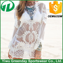Casual Beach dress lace embroidery long sleeve round neck beach sarong