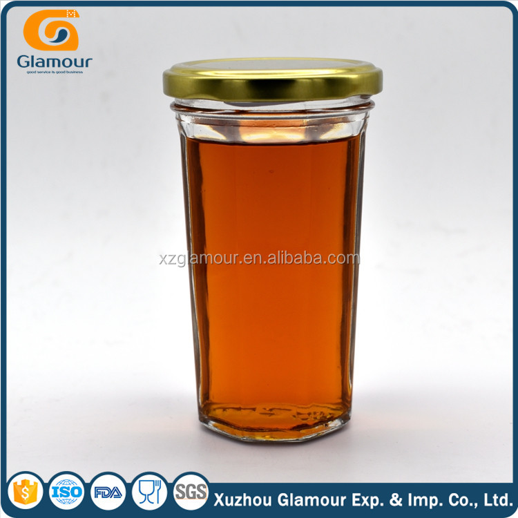 food packaging octagonal glass jar with screw top lid