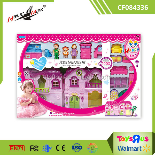 Funny Play Set Plastic Mini Toy Doll House Furniture with Music 19 Accessories