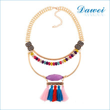 2016 european fashion Wholesale Multi Layered Wood Beaded colorful silk Tassel Necklace