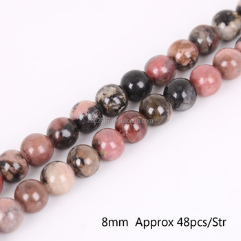 Wholesale 8mm Natural Black Stripes Rhodochrosite Stone Beads for DIY Bracelet Necklace Jewelry Making,yiwu