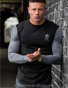 Long Sleeve Contrast Fitted T-Shirt Tapered Fit Mens Longline Curved Hem T Shirt 95% Cotton 5% Spandex Muscle Gym T Shirt