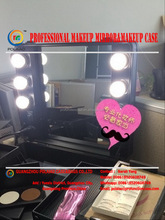 2016 the newest makeup suitcase with light aluminum makeup box with mirror professional make up case with lights