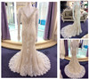 New Custom Made Wedding Dress Manufacturers Heavy Beaded V neck Lace Mermaid Champagne Covered Back Wedding Dresses A186