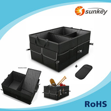 Heavy Duty Collapsible Foldable Car Back Seat Storage Box, 600D 3 Compartment Car Trunk Storage Organizer with Strap