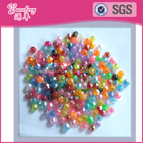 Acrylic faceted loose clear plastic beads for jewelry making