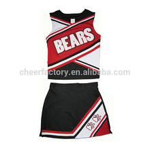Wholesale new model small quantity plain short sleeve beautiful colorful cheerleading uniforms
