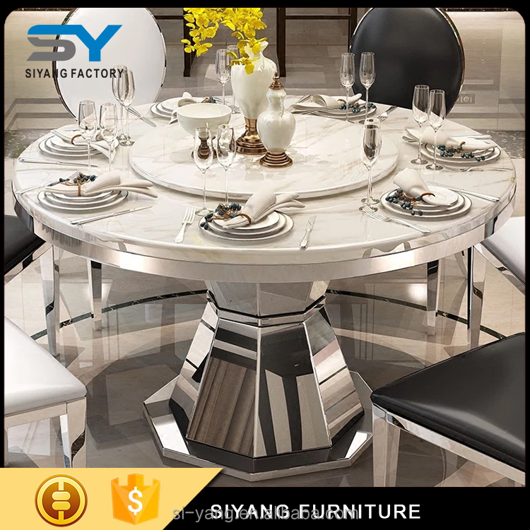India round marble dining table set