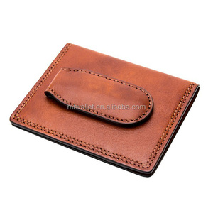 Newest handmade front pocket wallet w/magnetic money clip leather bifold design, hinged money clip card holder rfid shielded