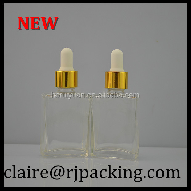 50ml transparent rectangular empty glass perfume bottle