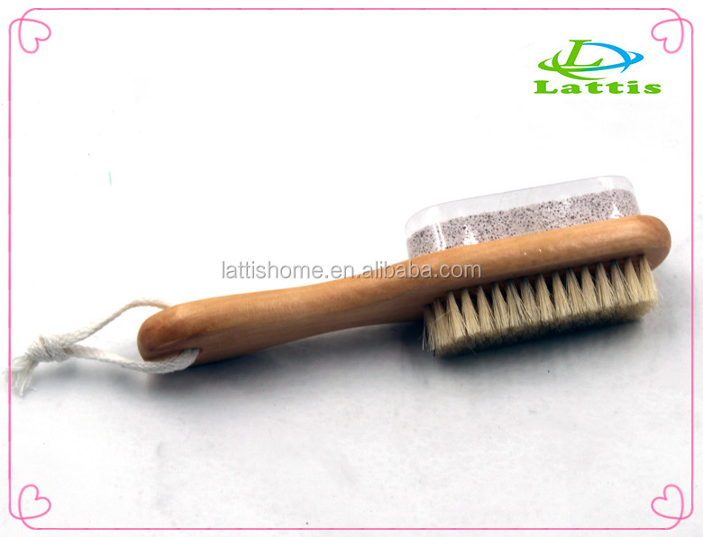 Long wooden handle foot scrub brush with pumice stone multi-function double sides wash brush