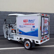 three wheeler electric refrigerated truck e-tricycle for delivering meat/milk/vegetables motor cargo car with deliver carbin