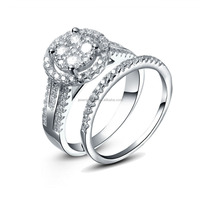 Large crystal CZ 925 silver jewelry rings set wholesale -JRZ9023