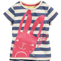 Fashion style softtextile striped baby girls top design
