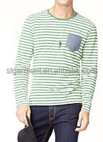 High quality blue and white stripe o neck cotton tees with pocket