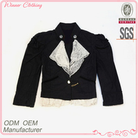 garment manufacturer stand collar lace hem lace ribbon front cropped girls varsity jackets
