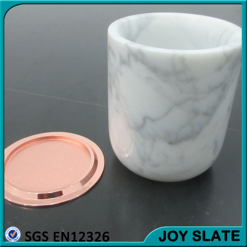wholesale marble candle jars with lid / candle holder