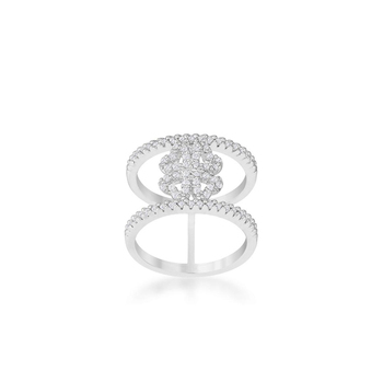 Fashion fancy design wedding double lines zircon four clover rings for girls
