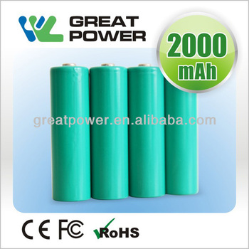 R6 rechargeable batteries 2000mah 1.2v NIMH R6 rechargeable battery cell