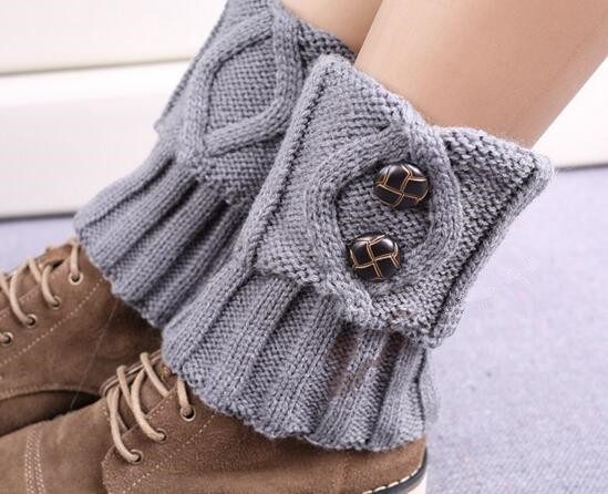 Women Hot Winter Leg Warmers Socks Button Crochet Knit Boot Socks Toppers Cuffs