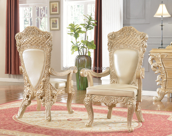 Italian Palace Luxury Style Hand Carved Solid Wood Genuine Leather Dining  Chair/Arm Chair(