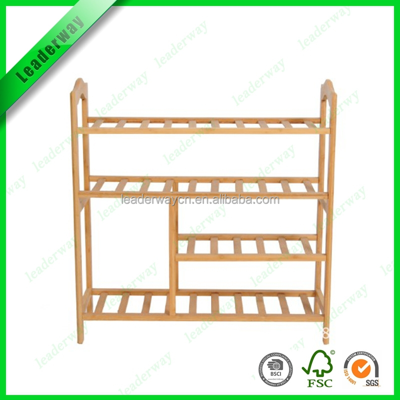 Multifunction bamboo shoes display shelf commericial shoes rack