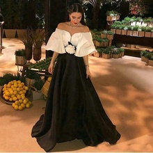 Women Dresses White And Black Formal Evening Dress With Flower Sash Bateau Satin Long Party Celebrity Gowns