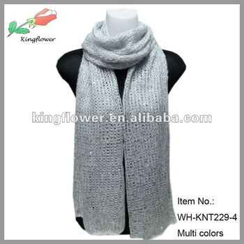 new arrival CRAZY hot selling knitted scarf with sequin