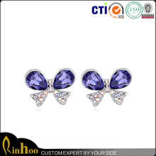 Bowknot Crystal Stud Earring With Rhinestone Inlay, Hot Selling Jewelry Display