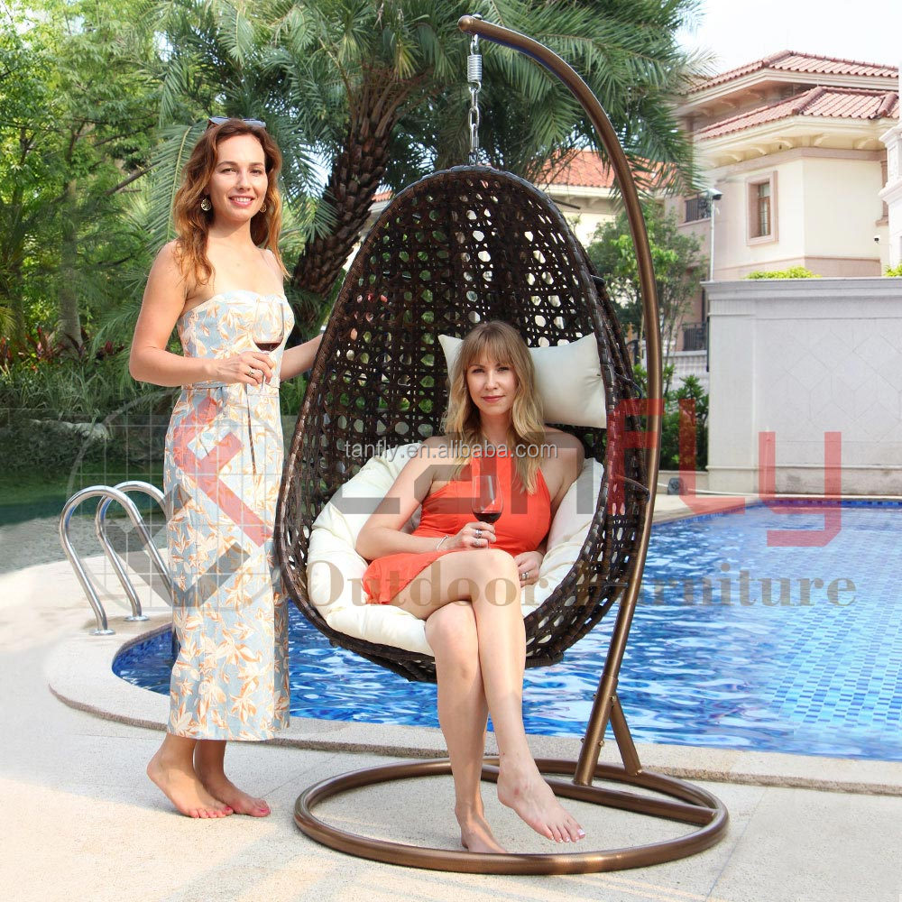 Patio Garden Indoor & Outdoor Furniture Hanging Egg Shaped Wicker Swing Chair Hammock with Stand