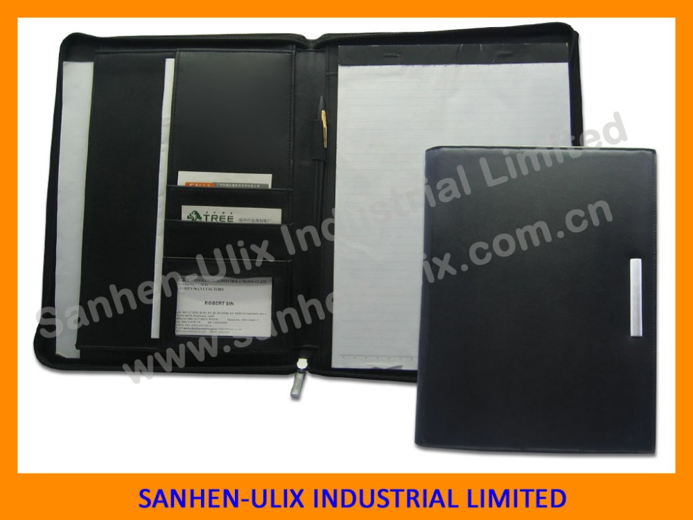 China supplier zipper A4 leather compendium/PU portfolio/file folder with LOGO embossed
