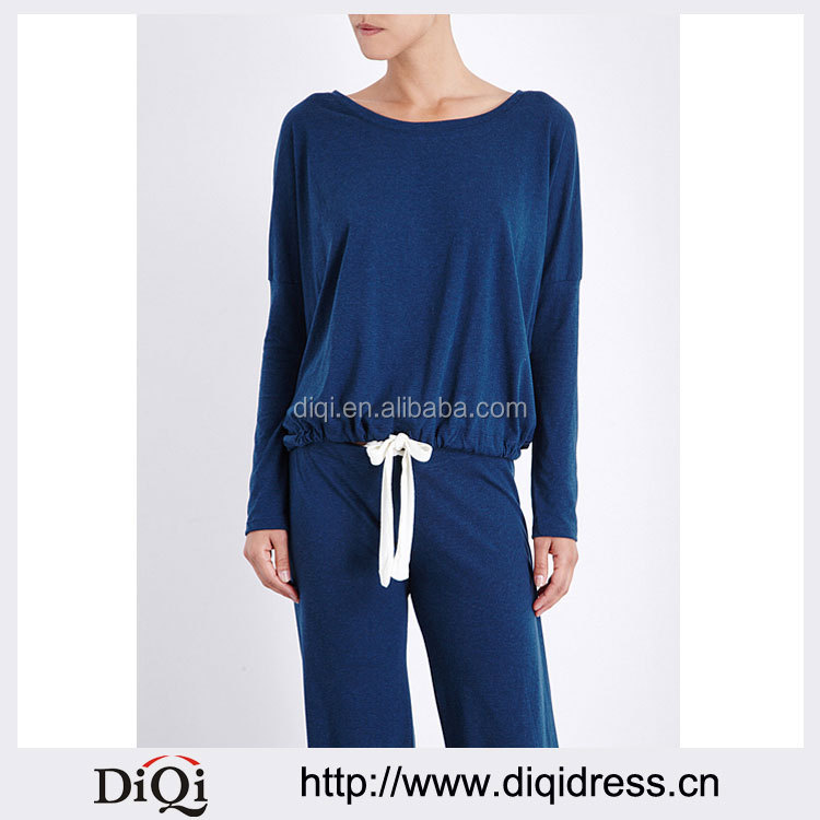 Wholesale Women Relaxed Scoop Neck Dropped Shoulders Long Sleeves Jersey Pyjama Blouse(DQE0160T)