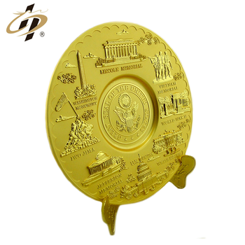 2019 Promotion gift customize 3D gold great seal of the united states metal souvenir plates