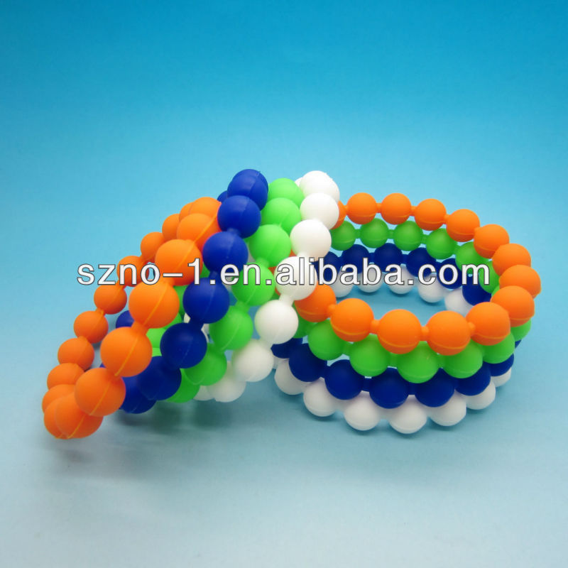 Water Mud Colorful Balance Ball Bead Silicone Wristband Band Bracelet