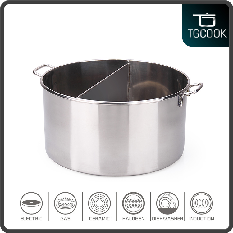 Home Kitchenware stainless steel hot soup pot with divided